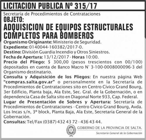 Licitación: Licitacion Publica 315 SGG MS