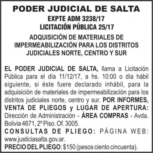 Licitación: PODER JUDICIAL