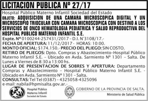 Licitación: Licitacion Publica 27 MSP HPMI