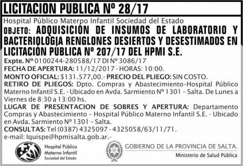 Licitación: Licitacion Publica 28 MSP HPMI