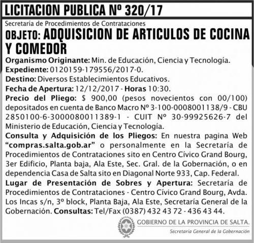 Licitación: Licitacion Publica 320 SGG MECT