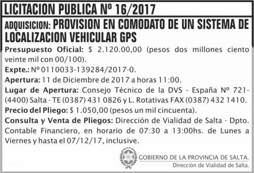 Licitación: Licitacion Publica 16 DVS