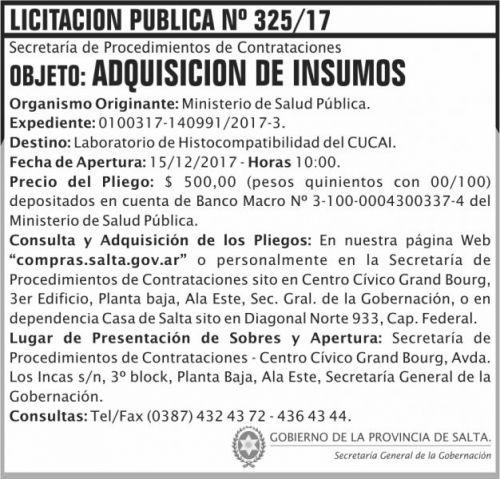 Licitación: Licitacion Publica 325 SGG