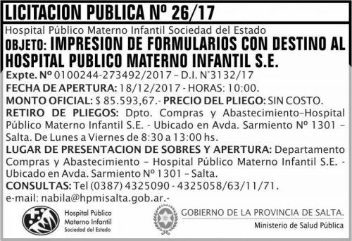 Licitación: Licitacion Publica 26 MSP HPMI