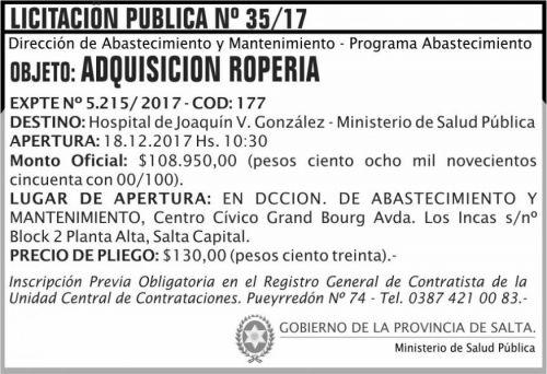 Licitación: Licitacion Publica 35 MSP