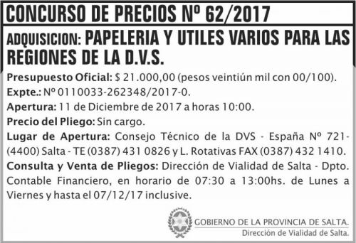 Licitación: Concurso de Precios 62 DVS