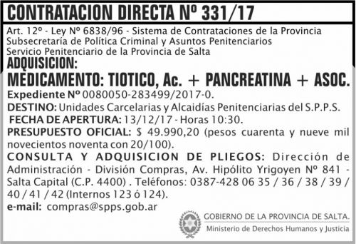 Licitación: Contratacion Directa 331 SPPS