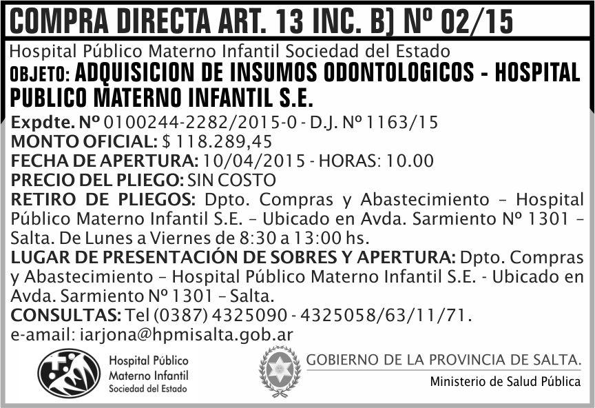 Compra Directa: Adquisición de Insumos Odontológicos - Hospital Público Materno Infantil