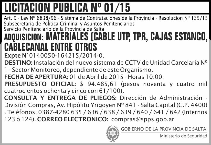 Licitación: 01/15 - Adquisición de Materiales (cable UTP, TPR, CAJAS ESTANCO., CABLECANAL ENT