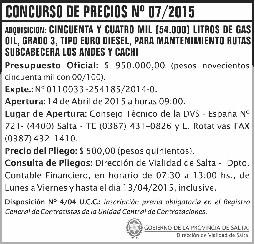 Concurso de Precios: 07/2015 - 54.000 litros de gas oil grado 3, tipo Euro diesel, para mantenimiento