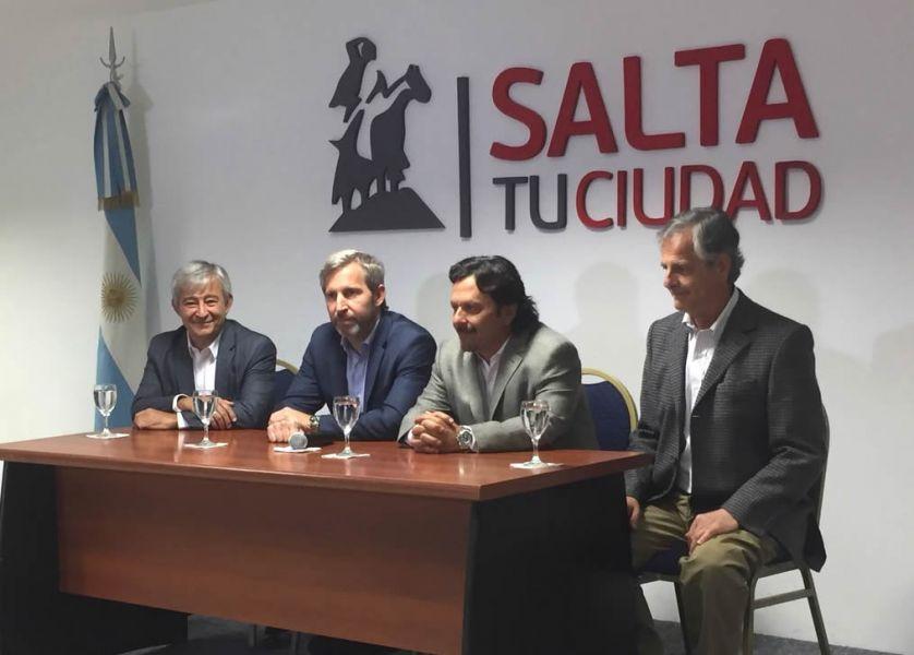 El ministro del Interior Rogelio Frigerio en Salta, junto a Gustavo Sáenz, Martín Grande y Durand Cornejo.
