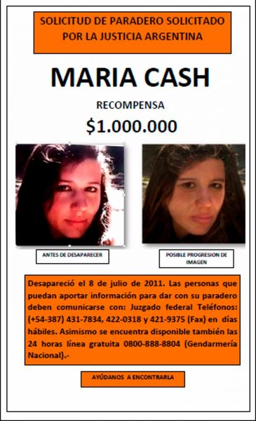 Afiche de recompensa por María Cash.