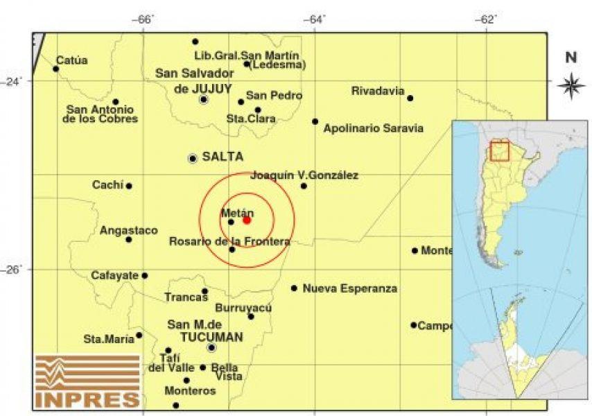 Mapa del epicentro del sismo. A la1.20 exactamente el piso se sacudió en la provincia de Salta, tuvo unmovimiento que llegóa casia un minuto.