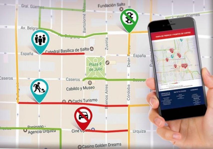 """El mapa digital de tráfico se puede descargar en los dispositivos móviles desde la aplicación """"Salta Activa""""."""