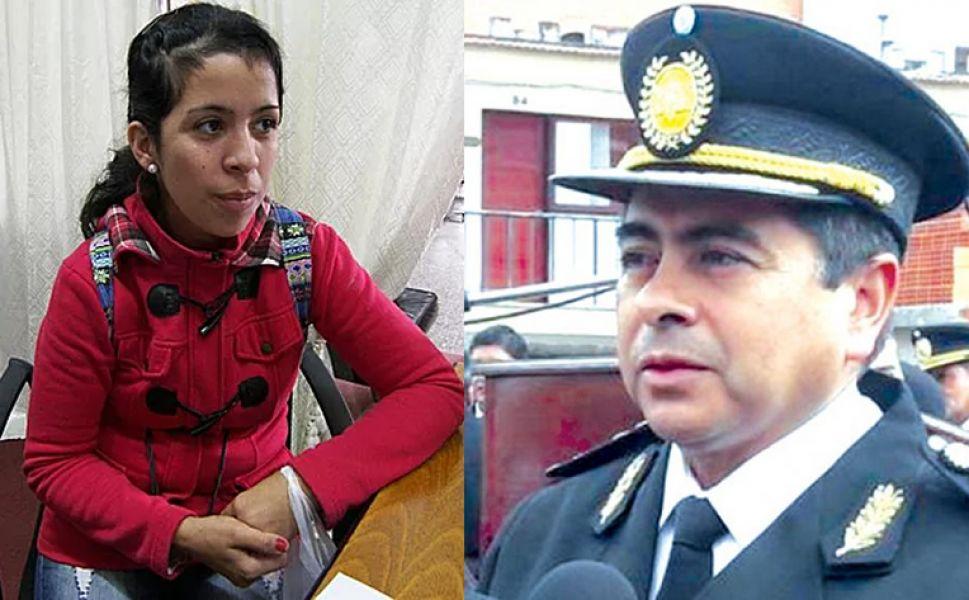 La mujer policía Yanina Gay y el Jefe de la Policía de la Provincia, Ángel Mauricio Silvestre.