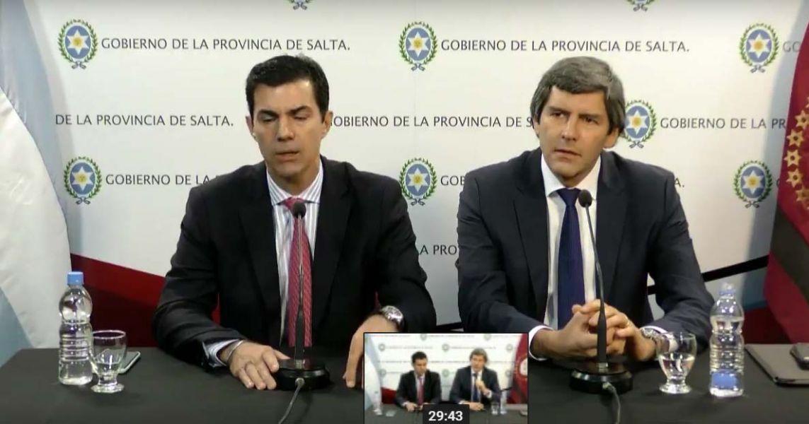 El gobernador Juan Manuel Urtubey y el jefe de Gabinete, Fernando Yarade.