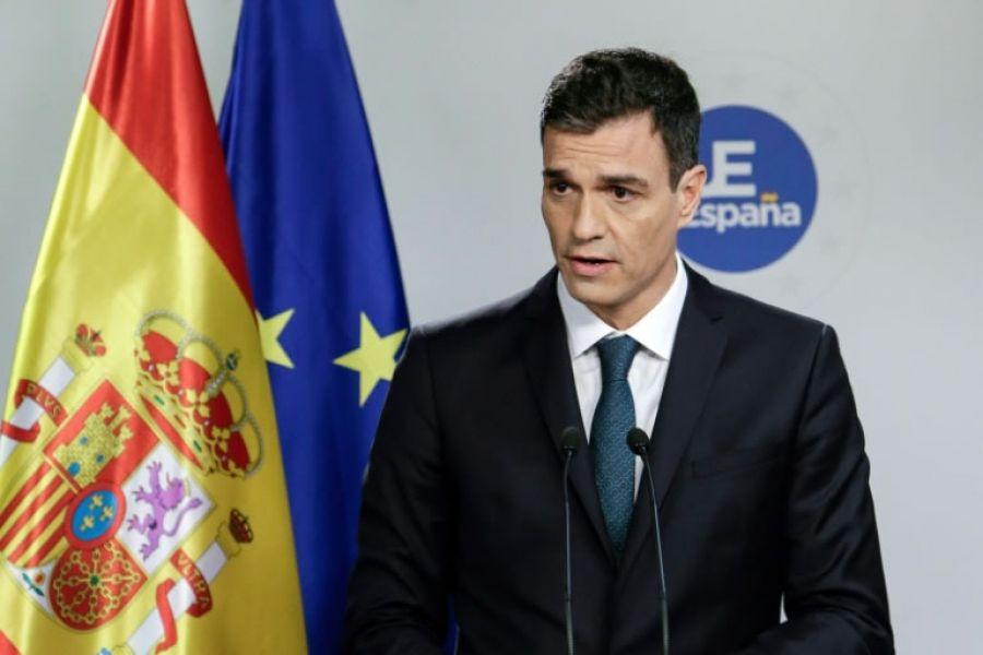 El presidente de España, Pedro Sánchez, habla en rueda de prensa en Bruselas.
