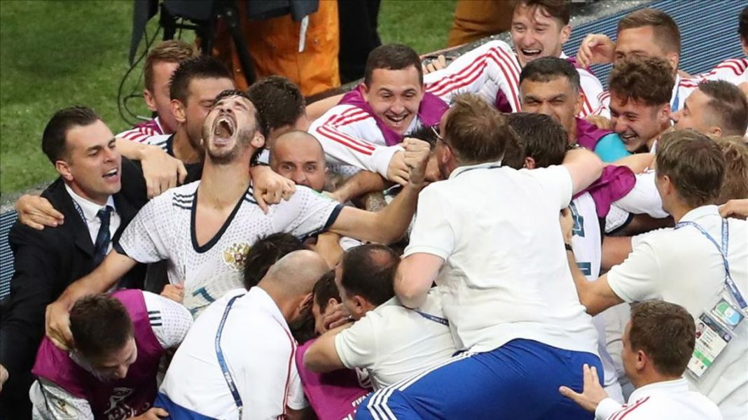 El festejo ruso tras eliminar a España.