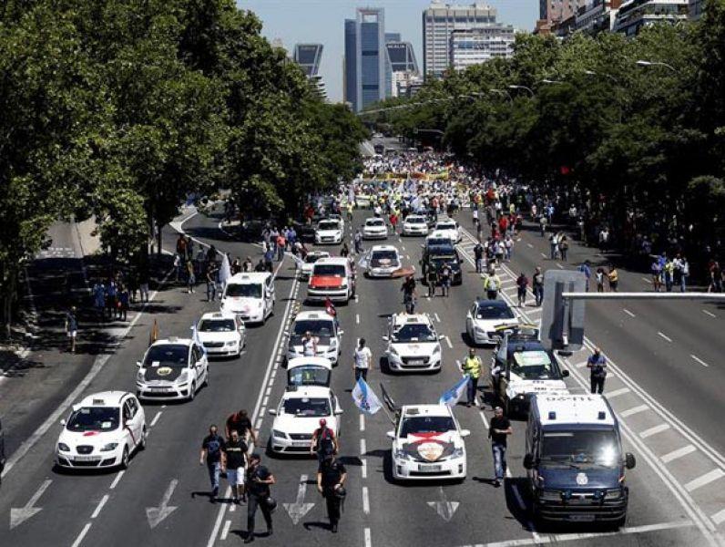 Huelga de trabajadores al volante en España.
