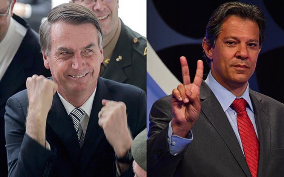 Jair Bolsonaro y Fernando Haddad, van a la cabeza de las intenciones de votos para pasar a la segunda vuelta a dos días de las elecciones.