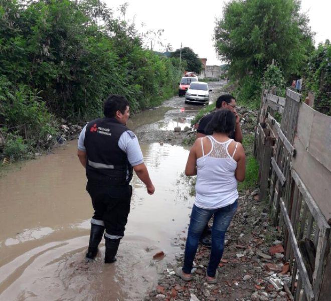 El barrio Juan Manuel de Rosas fue uno de los afectados ayer por las fuertes lluvias.