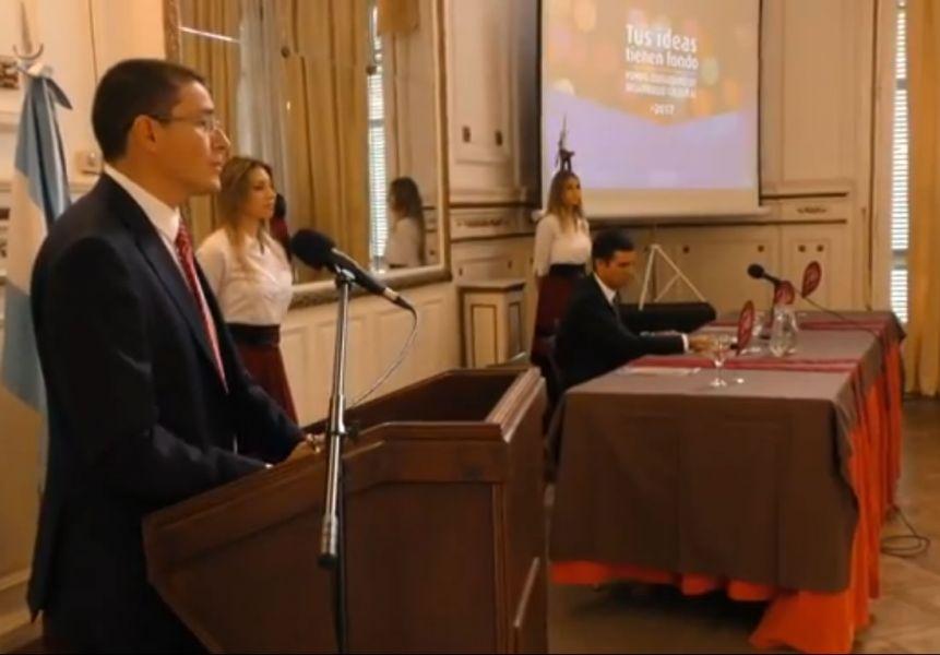 El Ministro de Cultura y Turismo Mariano Ovejero durante el lanzamiento del Fondo de Desarrollo Cultural.