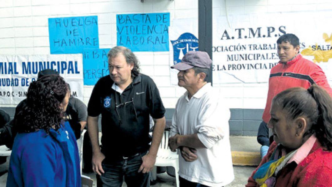 Los manifestantes durante la protesta por una serie de reivindicaciones laborales y sindical.