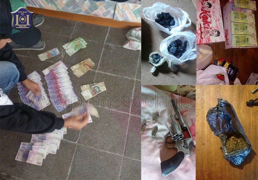 Secuestraron dinero, marihuana, un auto y otros  elementos.
