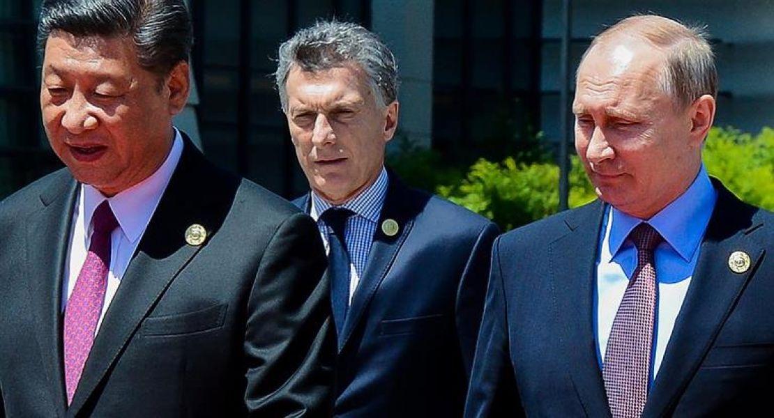 El presidente Macri junto a sus pares de China y Rusia.