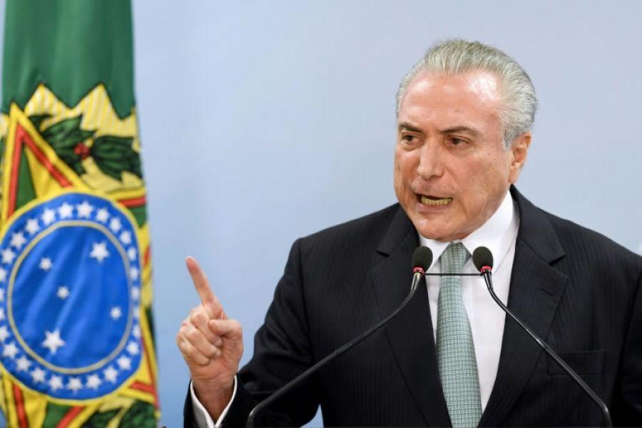 """El presidente brasileño, Michel Temer, dijo que no renunciará a su cargo y aseguró que nunca """"compró el silencio de nadie""""."""