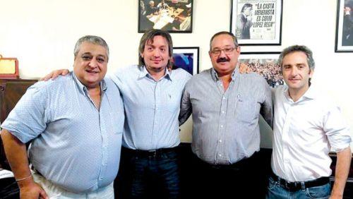 Vilariño junto a Máximo Kirchner, Sergio Leavy y el Cuervo Larroque.