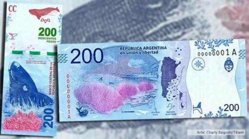 En los nuevos billetes de $200, la imágen es de la ballena franca austral