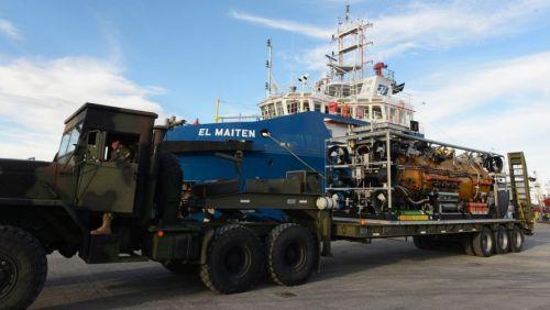 Un submarino de rescate estadounidense es trasladado al puerto de Comodoro Rivadavia