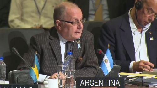 Canciller de Argentina Jorge Faurie participa en la 47° Asamblea de la OEA que tuvo lugar en Cancún (México).