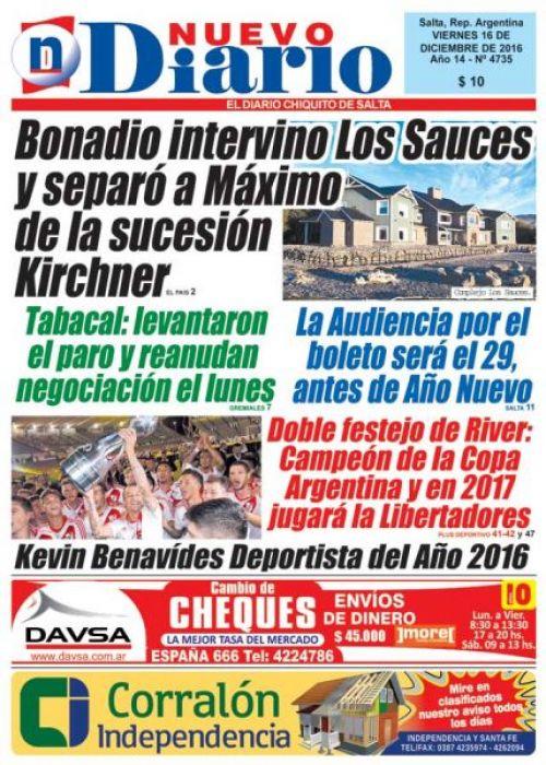 Tapa del 16/12/2016 Nuevo Diario de Salta