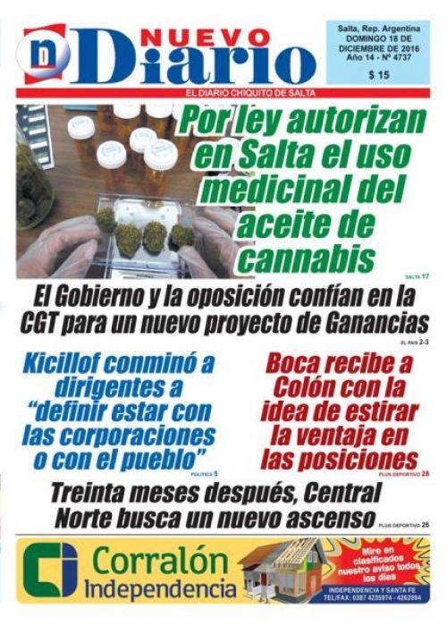 Tapa del 18/12/2016 Nuevo Diario de Salta