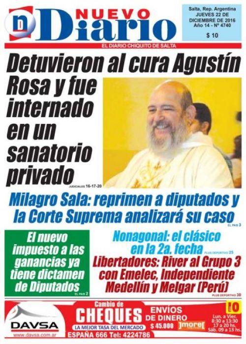 Tapa del 22/12/2016 Nuevo Diario de Salta