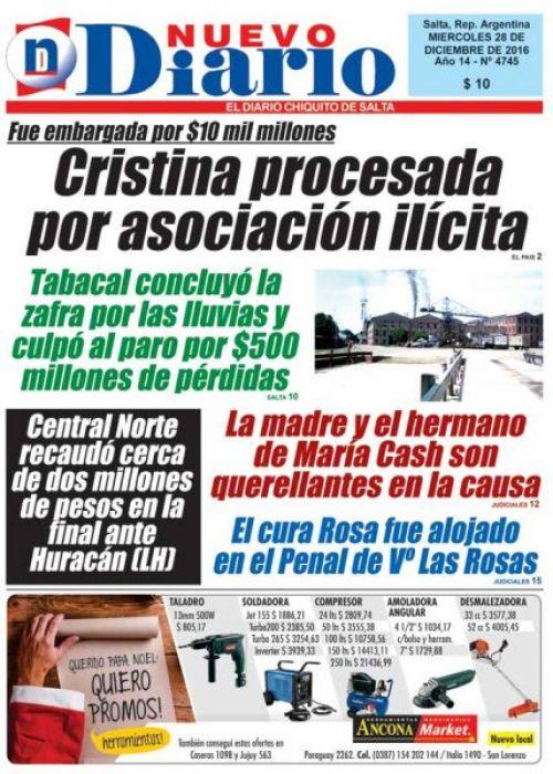Tapa del 28/12/2016 Nuevo Diario de Salta