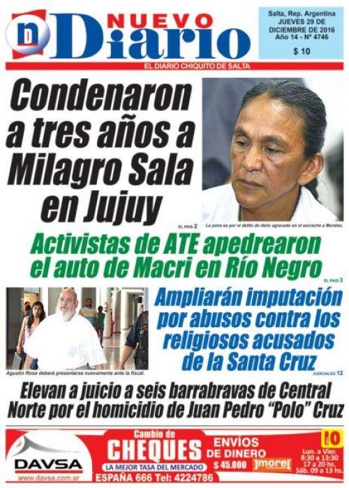 Tapa del 29/12/2016 Nuevo Diario de Salta