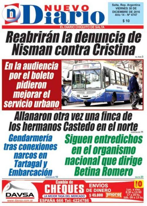 Tapa del 30/12/2016 Nuevo Diario de Salta