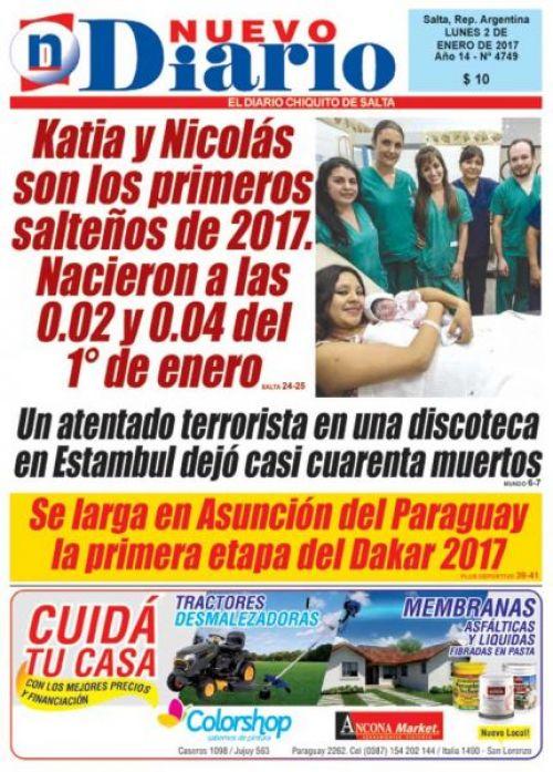 Tapa del 02/01/2017 Nuevo Diario de Salta
