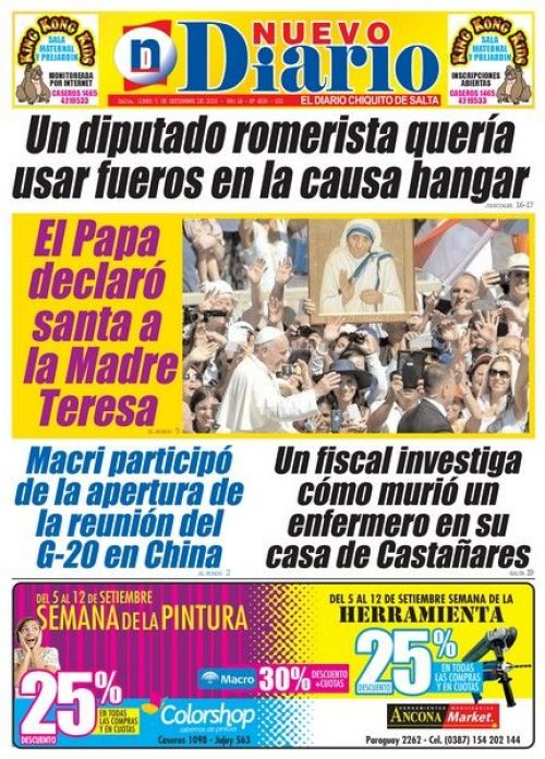 Tapa del 05/09/2016 Nuevo Diario de Salta
