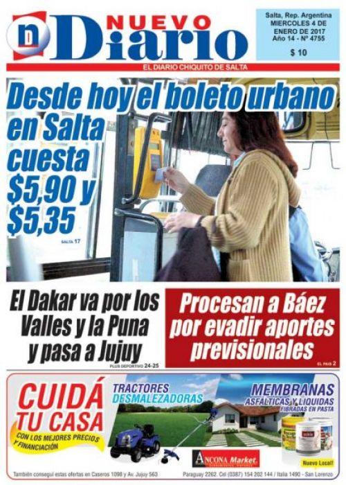 Tapa del 04/01/2017 Nuevo Diario de Salta