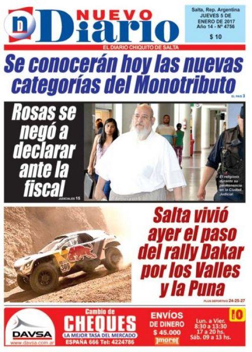 Tapa del 05/01/2017 Nuevo Diario de Salta