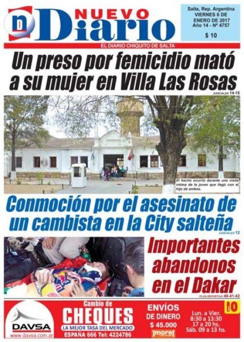 Tapa del 06/01/2017 Nuevo Diario de Salta