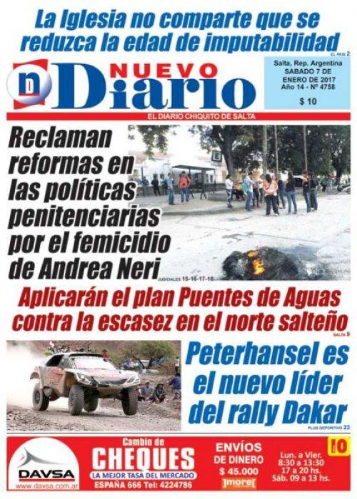 Tapa del 07/01/2017 Nuevo Diario de Salta