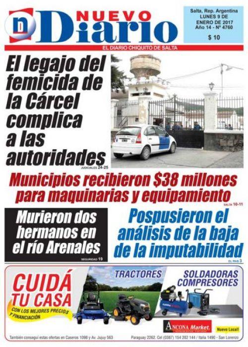 Tapa del 09/01/2017 Nuevo Diario de Salta