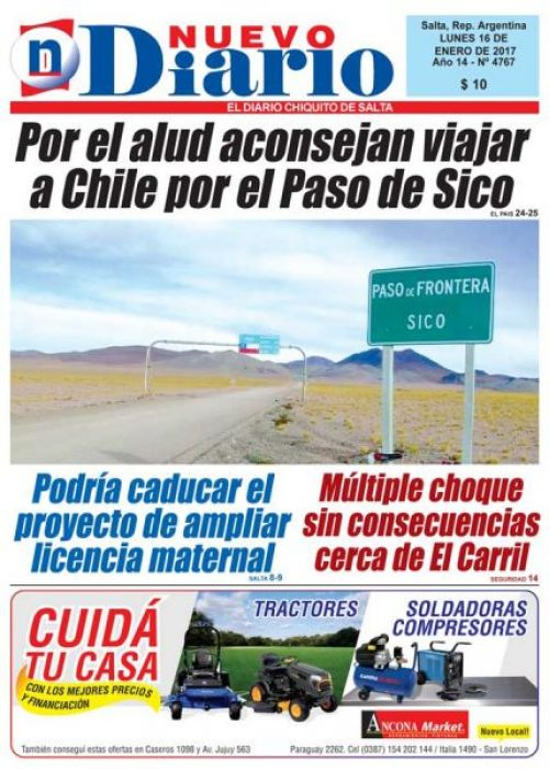 Tapa del 16/01/2017 Nuevo Diario de Salta