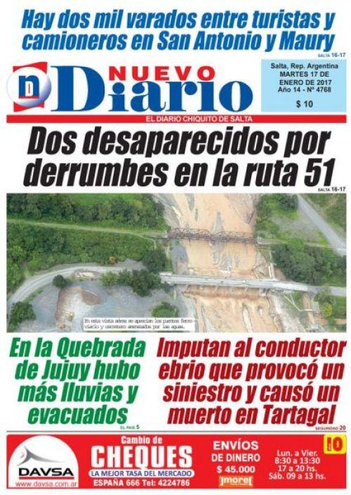 Tapa del 17/01/2017 Nuevo Diario de Salta