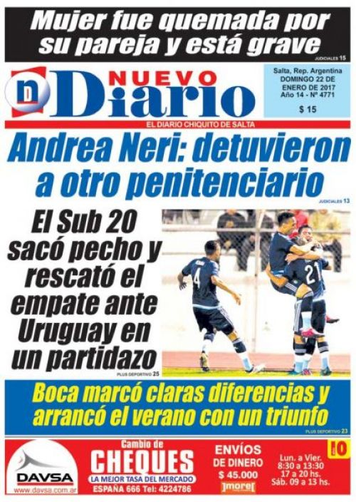 Tapa del 22/01/2017 Nuevo Diario de Salta